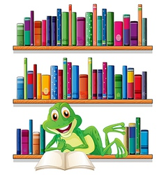 A smiling frog reading a book vector image vector image