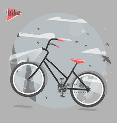 cycling concept bicycle ride in the woods vector image