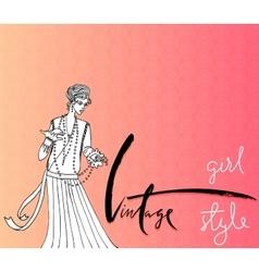 Beautiful fashion woman Retro style Vintage vector image