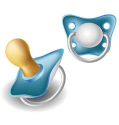 Blue pacifier set vector image vector image