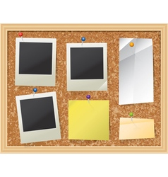Corkboard Bulletin Board with Photos and Paper vector image