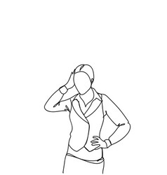doodle frustrated business woman holding head vector image
