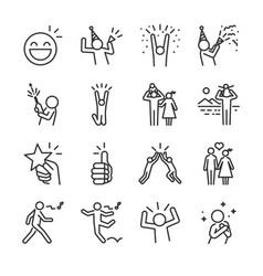 happy line icon set vector image vector image