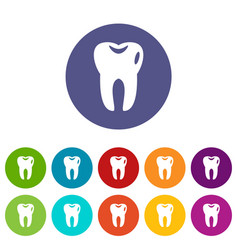 tooth set icons vector image