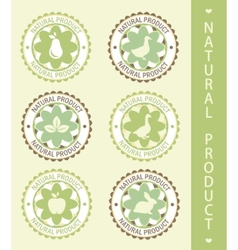 6 labels natural product vector illustration vector image vector image