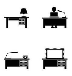black desk icons set vector image vector image