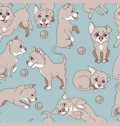 cute little doggy ball playing vector image vector image