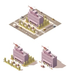 Isometric low poly hospital icon vector image vector image