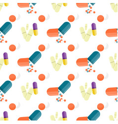 seamless pattern medical drugs pills capsules vector image vector image