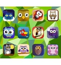 Cartoon baby owl set vector image vector image
