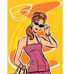 Red beautiful retro girl in sunglasses vector image