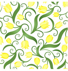 seamless pattern with yellow tulips vector image vector image