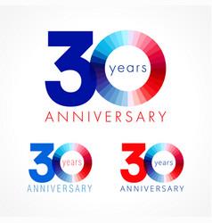 30 anniversary red blue logo vector