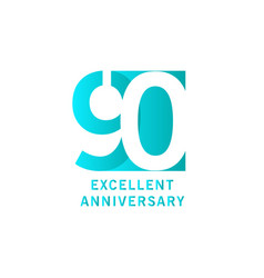 90 years excellent anniversary template design vector