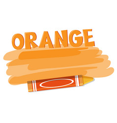 a orange crayon on white background vector image