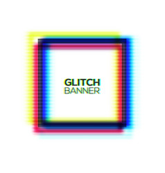 Abstract glitch square frame distorted rectangle vector