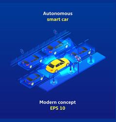 Autonomous smart car concept background vector