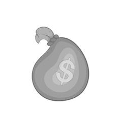 Bag of money icon black monochrome style vector image