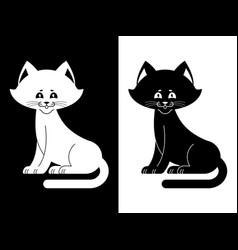 Black and white cat sweetheart kitten home pet vector
