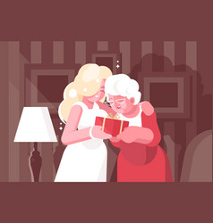 blonde woman giving present to her mother vector image
