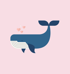blue whale with hearts vector image