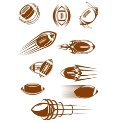 Brown rugby ball icons vector image