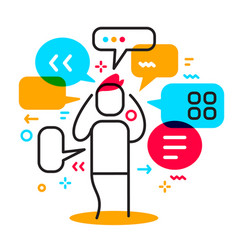 business of a man surrounded by speech bubble vector image