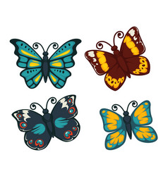 butterflies colorful flat isolated icons vector image