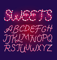Candy cane font sweet comic alphabet set vector