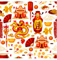 Chinese lunar new year symbols pattern vector