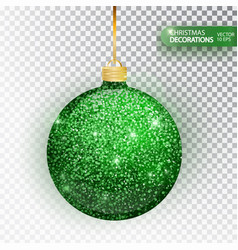 christmas bauble green glitter isolated on white vector image