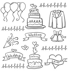 collection of wedding style in doodles vector image