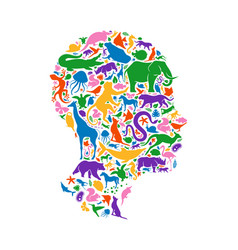 colorful wild animal icon head shape isolated vector image