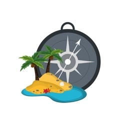 compass and tropical island icon vector image