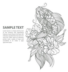 Contour image of koi fish with flower japanese vector