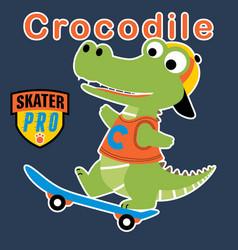 Crocodile funny skater cartoon vector