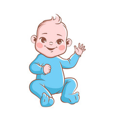 Cute baby boy infant smiling toddler vector