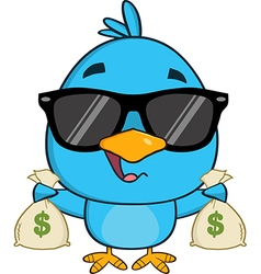 Cute Blue Bird with Money Cartoon vector