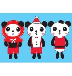 Cute panda christmas doodle vector