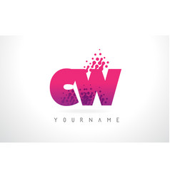cw c w letter logo with pink purple color and vector image