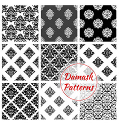 Damask seamless pattern set with floral arabesque vector