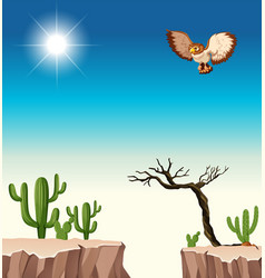 Desert scene with owl flying over canyon vector