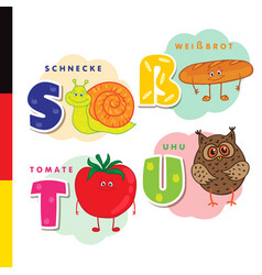 deutsch alphabet snail white bread tomato owl vector image