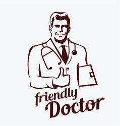 Doctor portrait retro emblem stylized sketch of vector