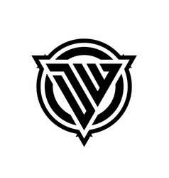 dw logo with triangle shape and circle vector image