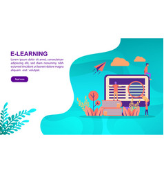 e learning concept with character template for vector image