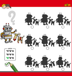 educational shadow game with robot characters vector image