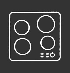 Electric induction hob chalk icon vector
