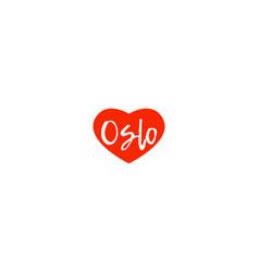 European capital city oslo love heart text logo vector