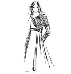 fashion models sketch coat vector image